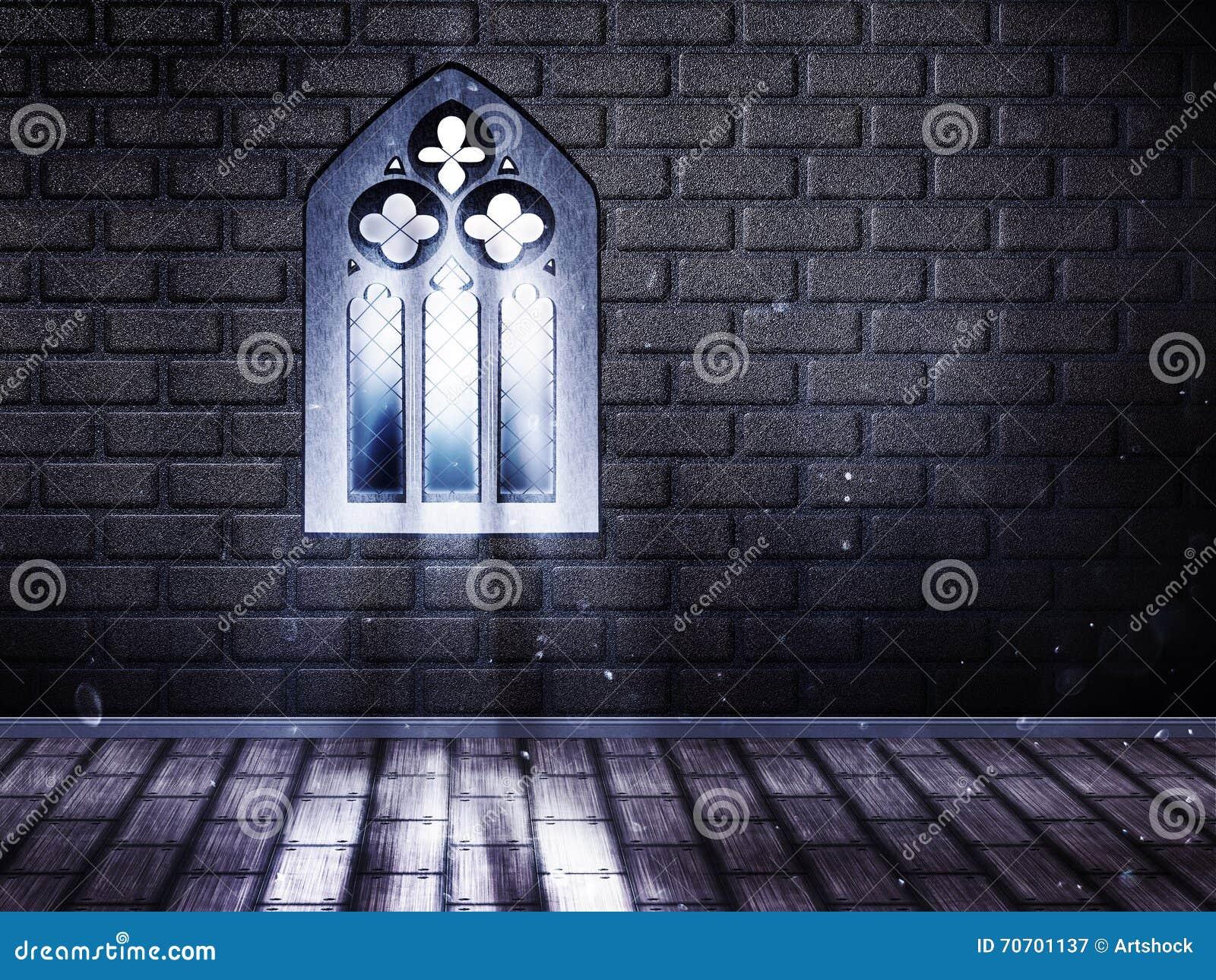 Pi ce avec la fen tre gothique illustration stock image for Fenetre gothique