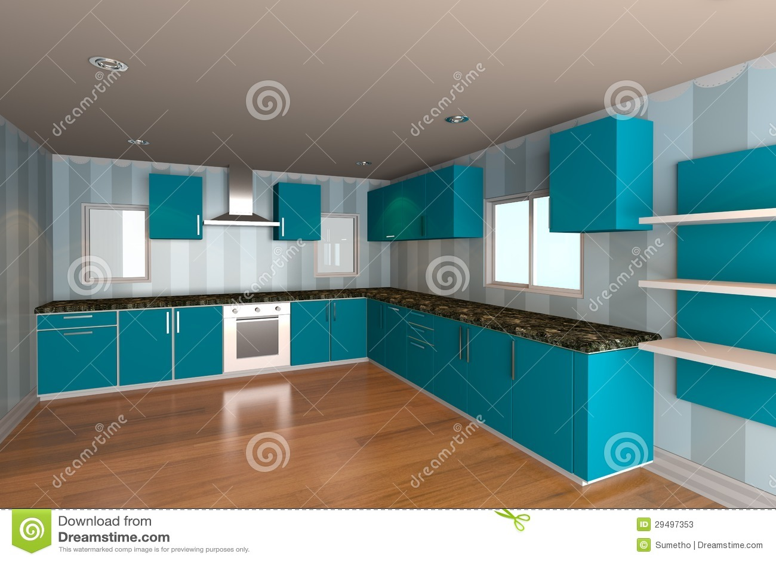 Pièce de cuisine avec le papier peint bleu photos stock   image ...