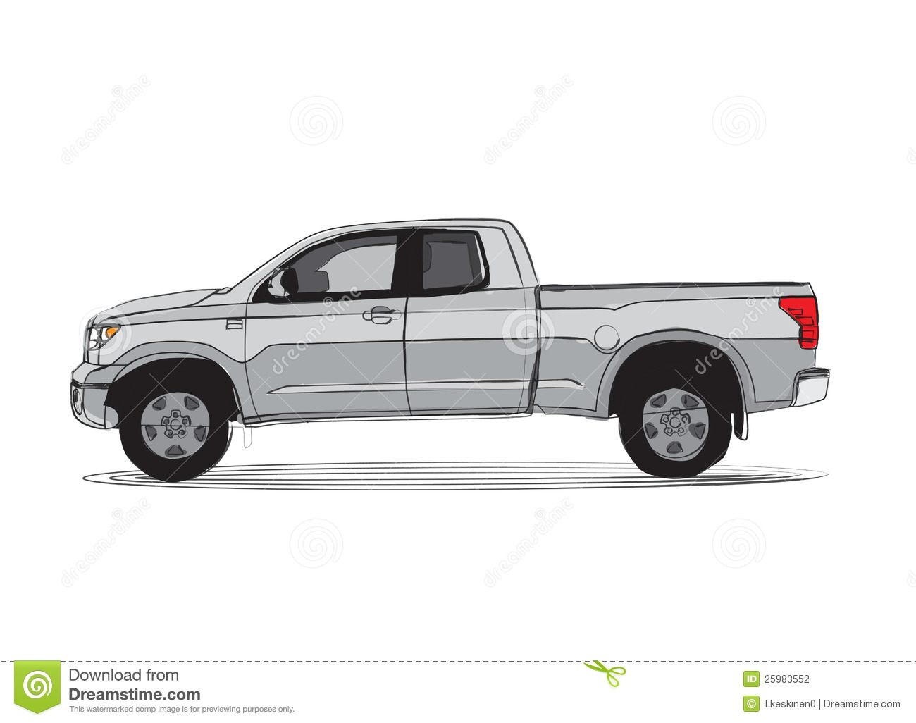 pick up truck cartoon style drawing 25983552