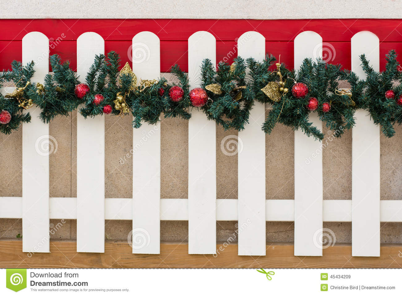 Picket Fence And Christmas Decorations Stock Image Image Of