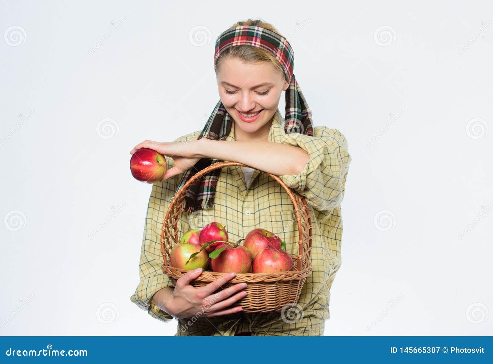 Picking best one. organic vegetarian. healthy teeth. Happy woman eating apple. orchard, gardener girl with apple basket