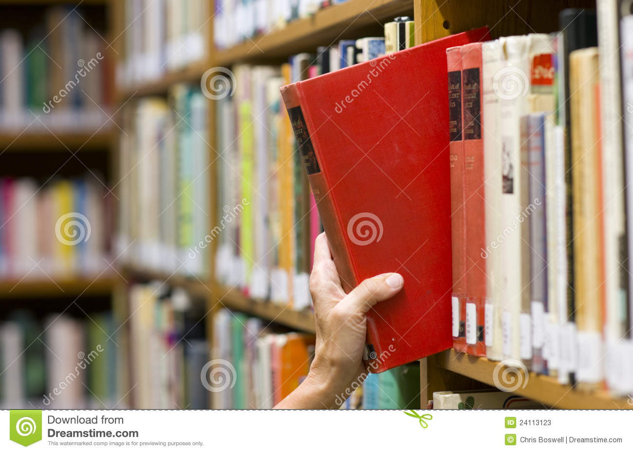 Woman Reaches Out Picking A Book Library Shelf Stock