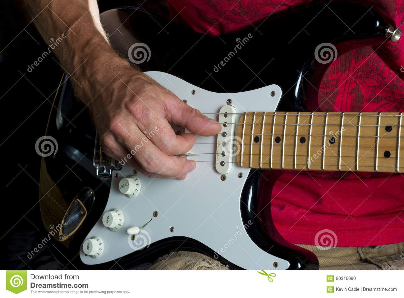 Picking On Electric Guitar Black White Stock Photo Image Of Down