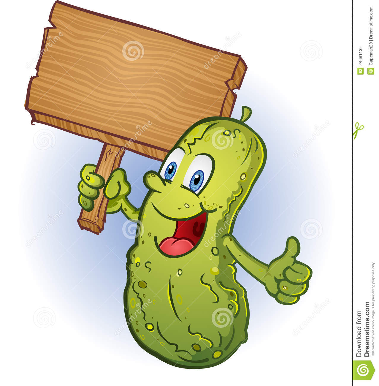 Pickle Holding a Sign stock vector. Illustration of ...