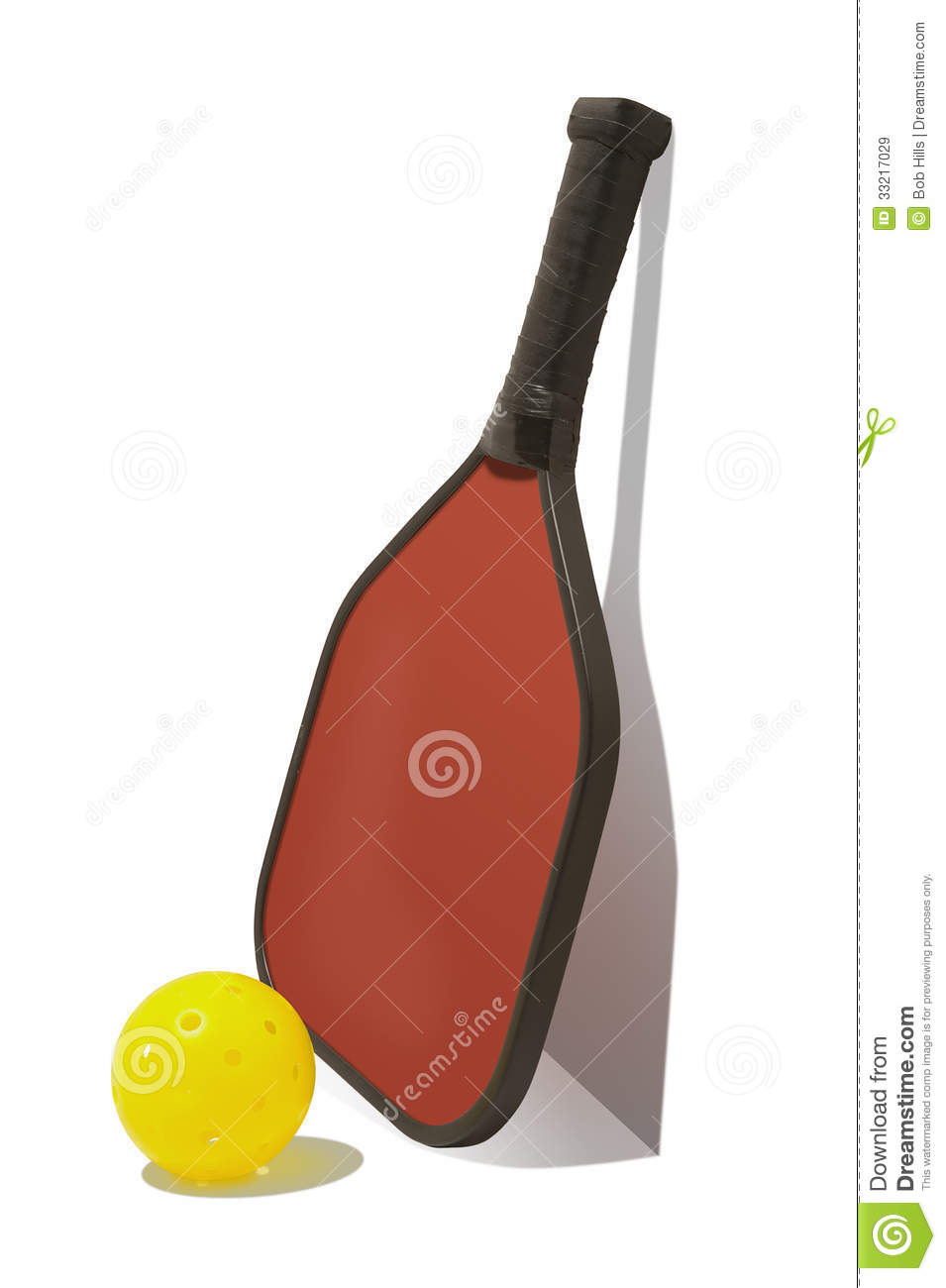 Pickleball Paddle Leaning On Wall With Ball And Shadow