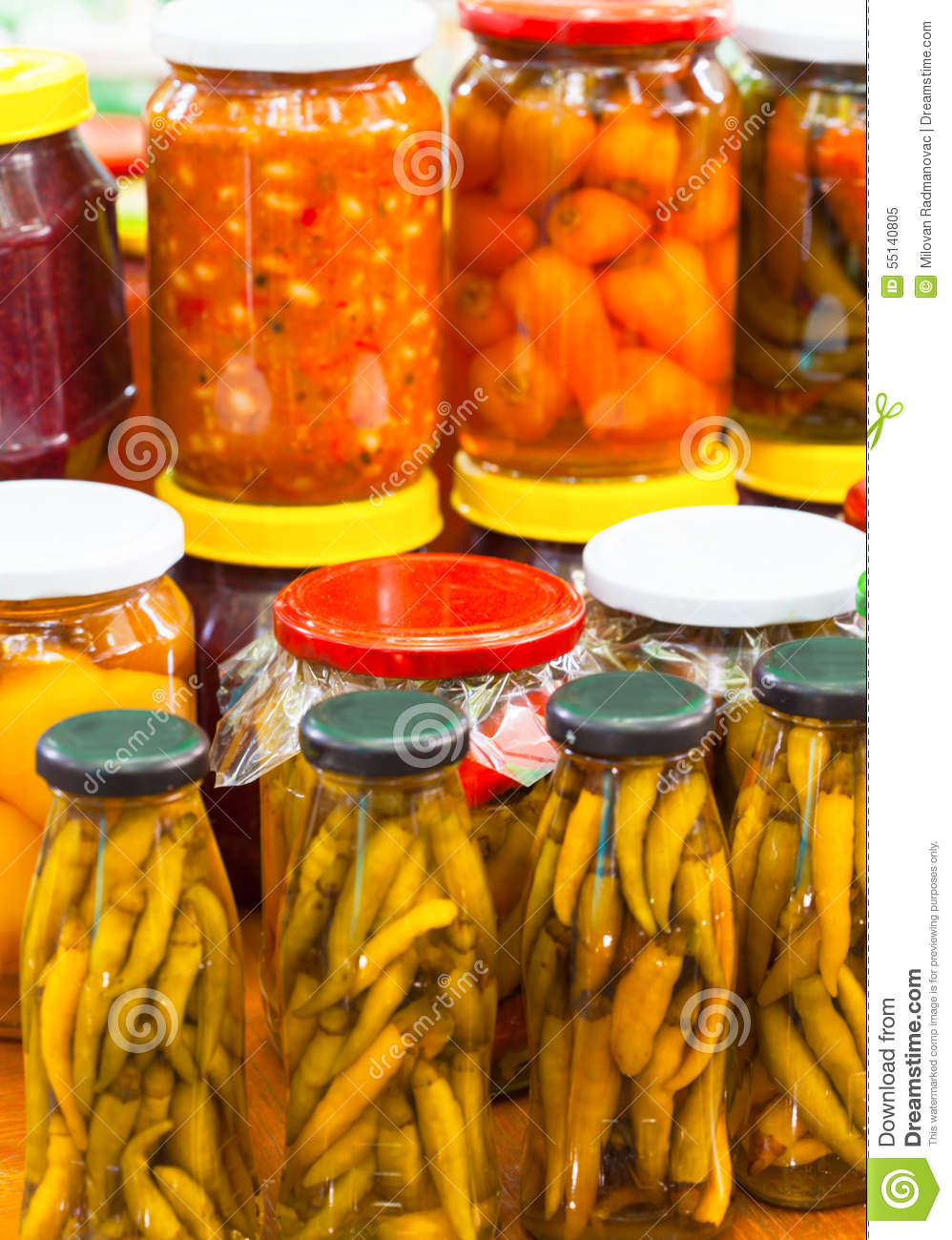 Pickled Chili Peppers In Jars Stock Photo - Image: 55140805