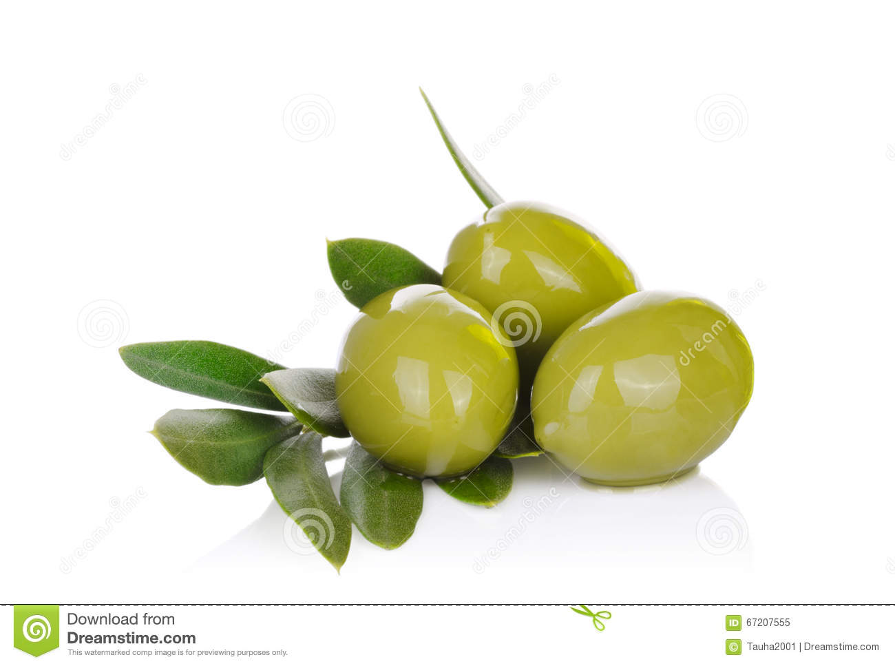 Pickled green olives and olive tree branch on a white