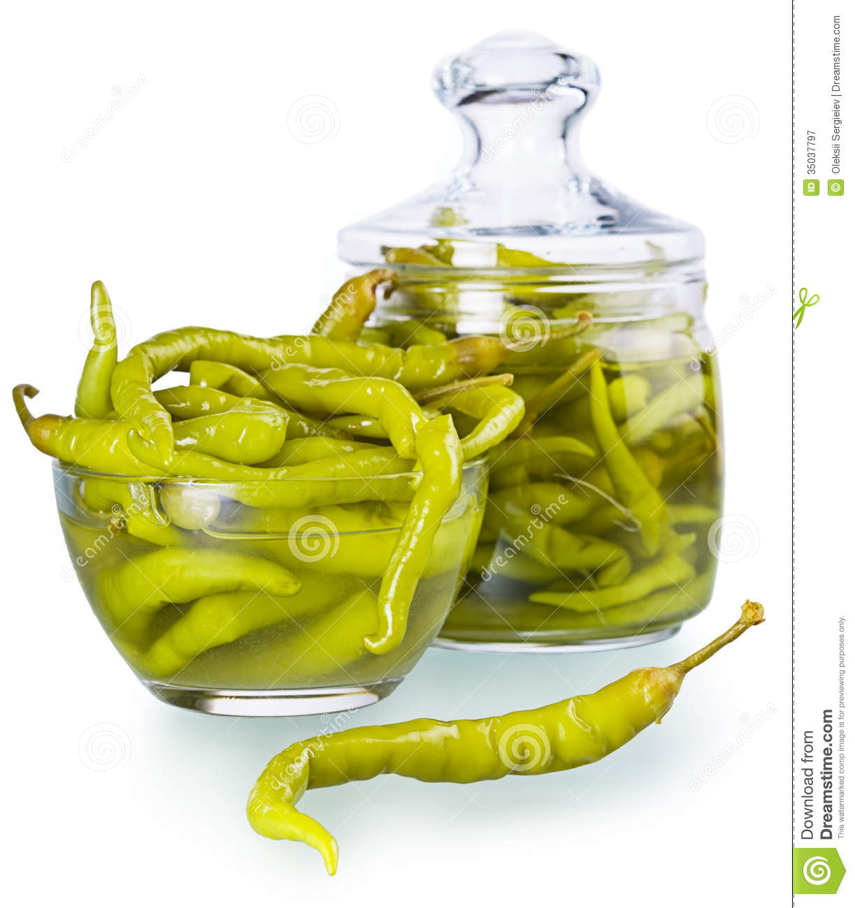 Pickled spicy green pepper stock image. Image of pepper ...