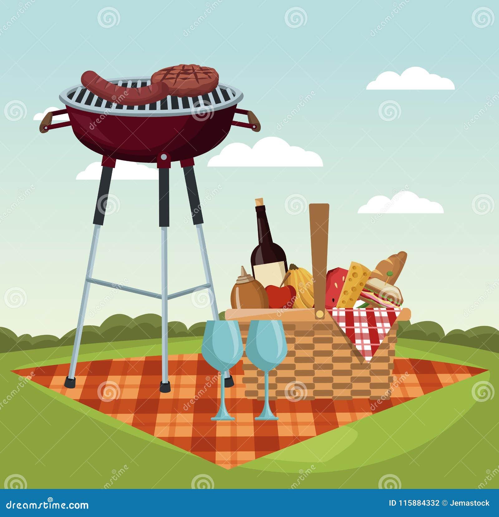 Picknick in den Parkkarikaturen