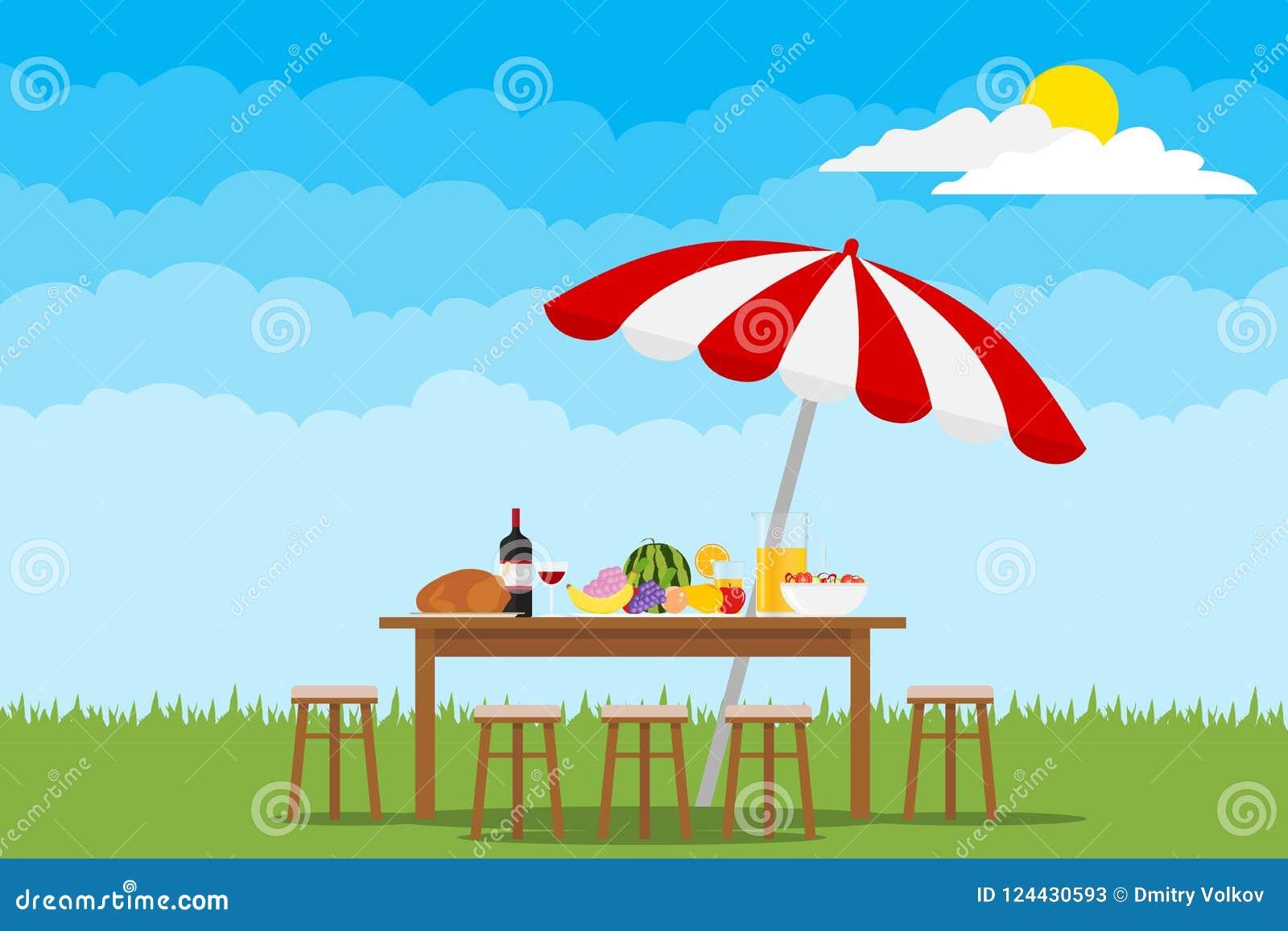 Picknick in der Natur Eine Tabelle mit Lebensmittel und Stühle auf grünem Gras