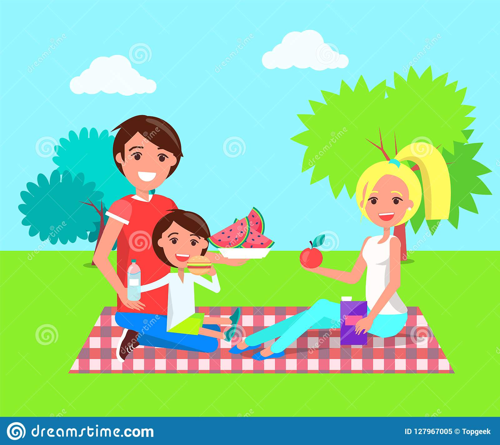 Picknick-Familie in der Sommer-Park-Vektor-Illustration
