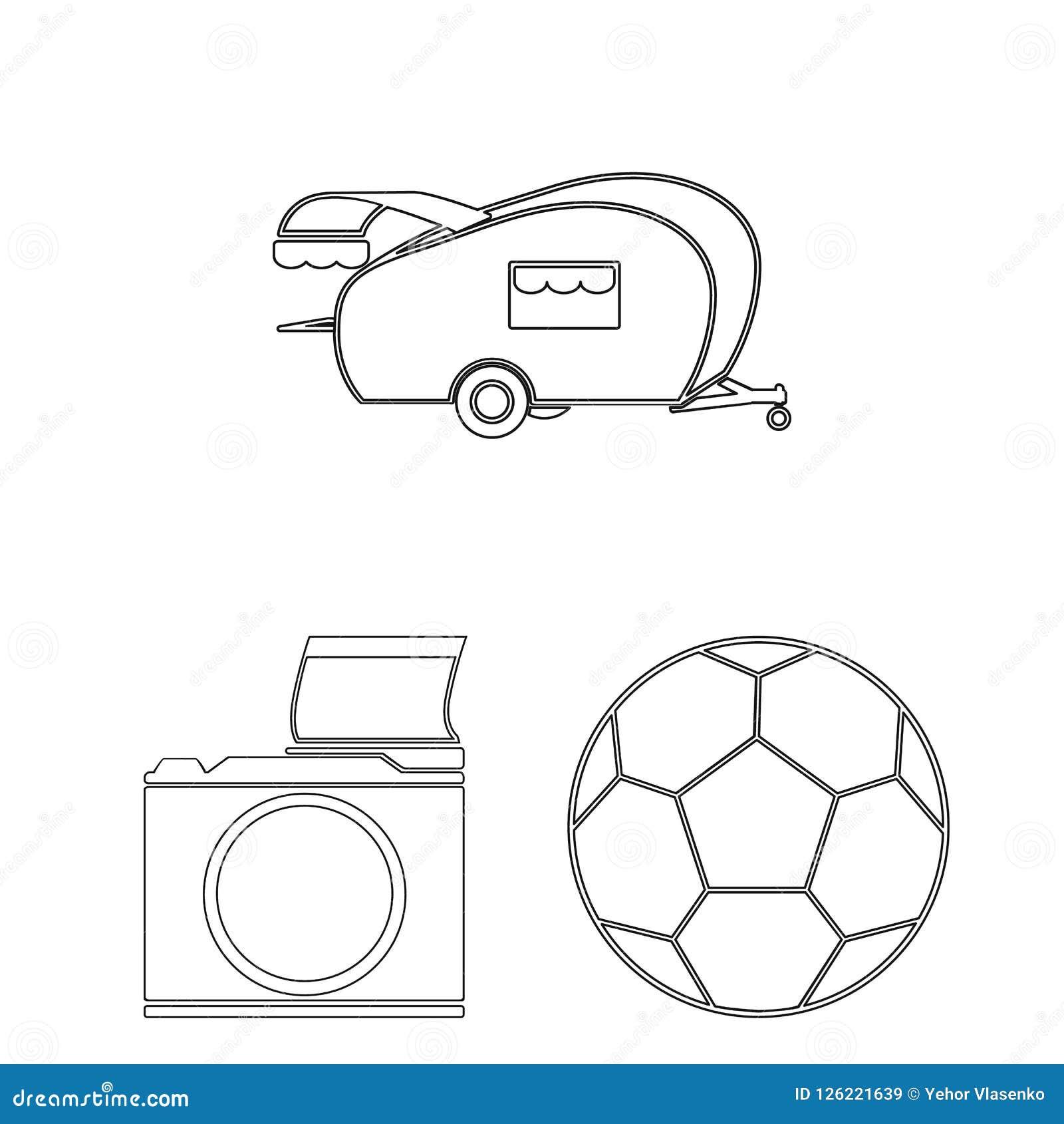 Picknick und Ausrüstung umreißen Ikonen in der Satzsammlung für Design Picknicken Sie im Naturvektorsymbol-Vorratnetz