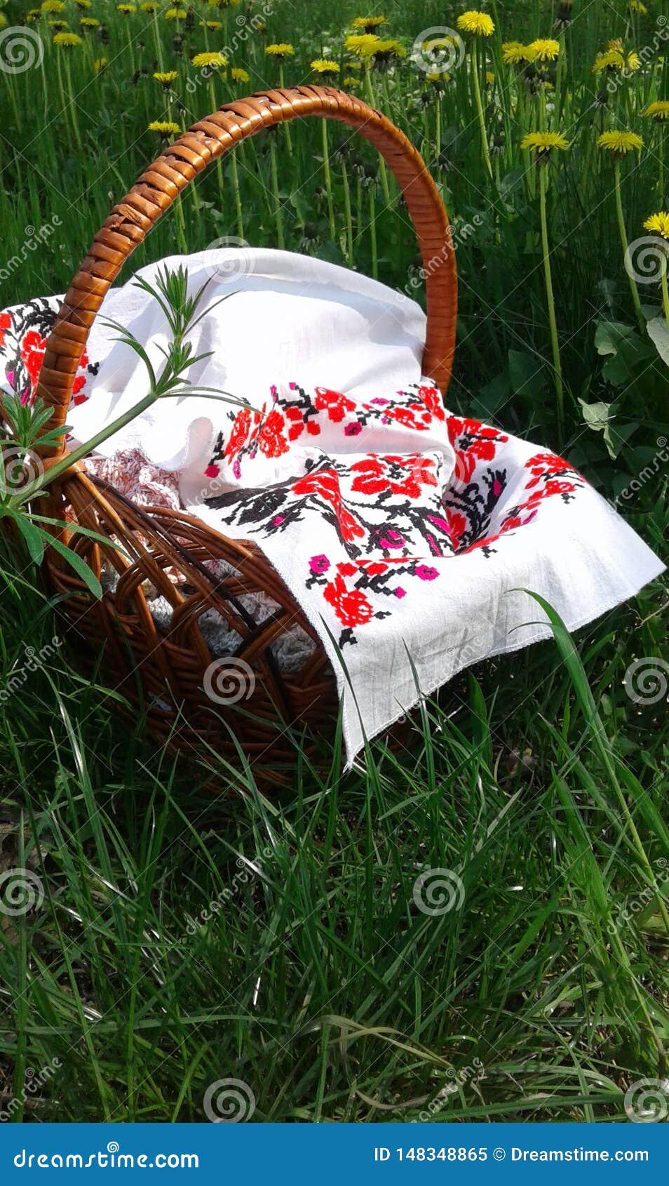 Picknickkorb Hintergrund mit Platz f?r Text Gesticktes Segeltuch Gelber L?wenzahn auf gr?nem Gras