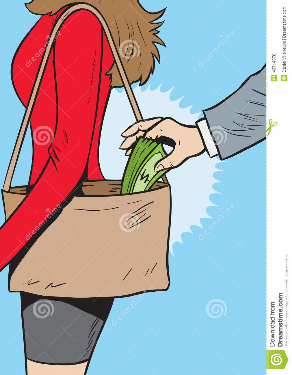 Pickpocket Stock Vector Image Of Woman Slim Crime