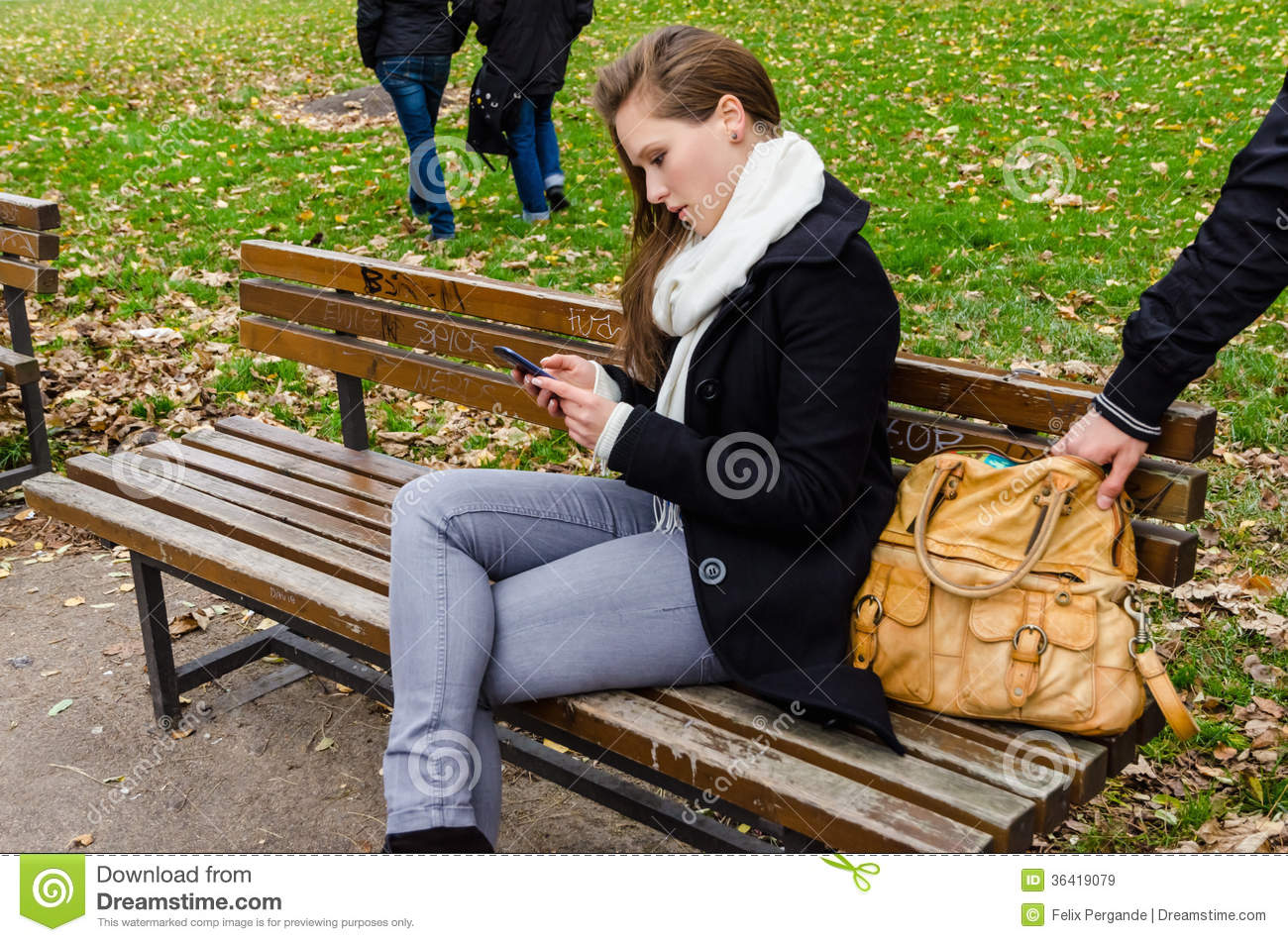 ... Using Phone On Park Bench Royalty Free Stock Images - Image: 36419079