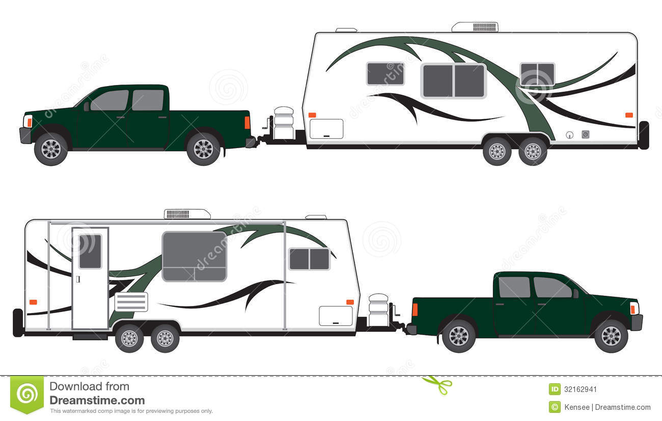 Pickup and camper trailer stock vector. Image of getaway ...
