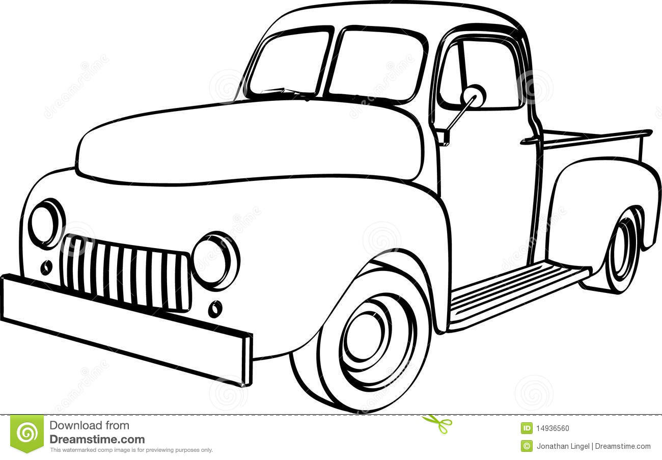 Vector drawing of 1940's style pick up truck.