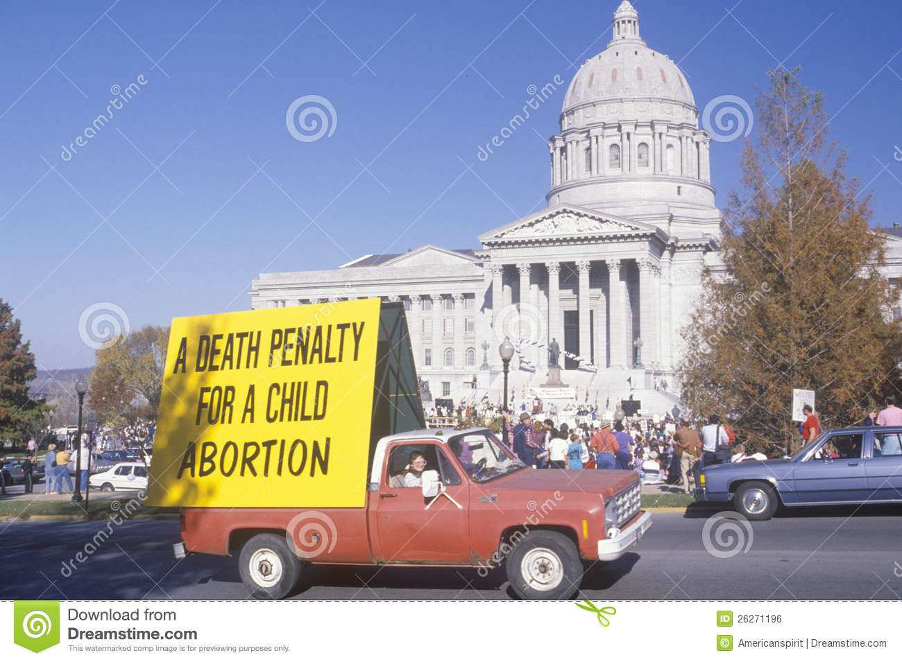 Pickup truck with anti-abortion sign