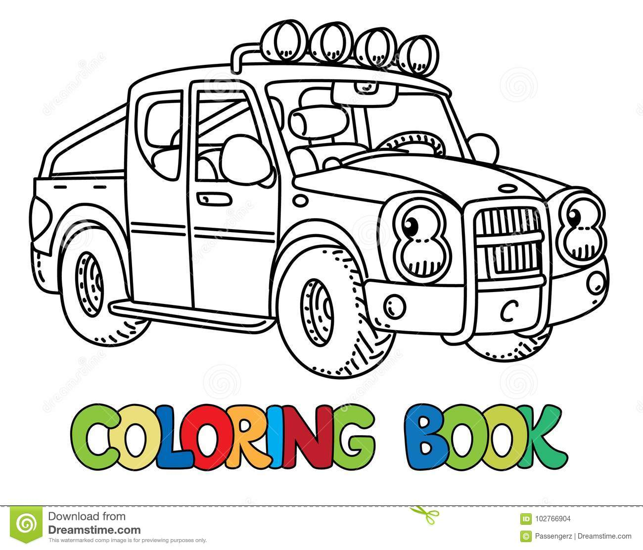 Funny Small Pickup Truck With Eyes. Coloring Book Stock ...