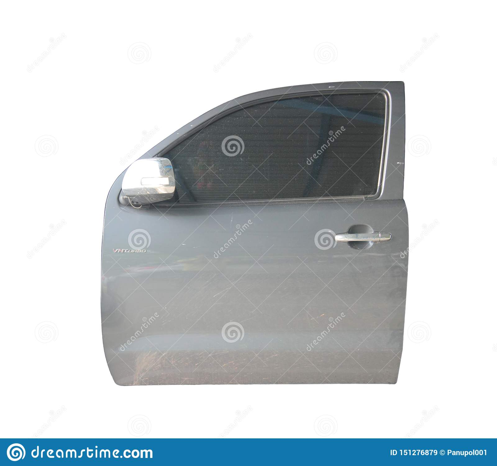 Pickup truck door on isolated background