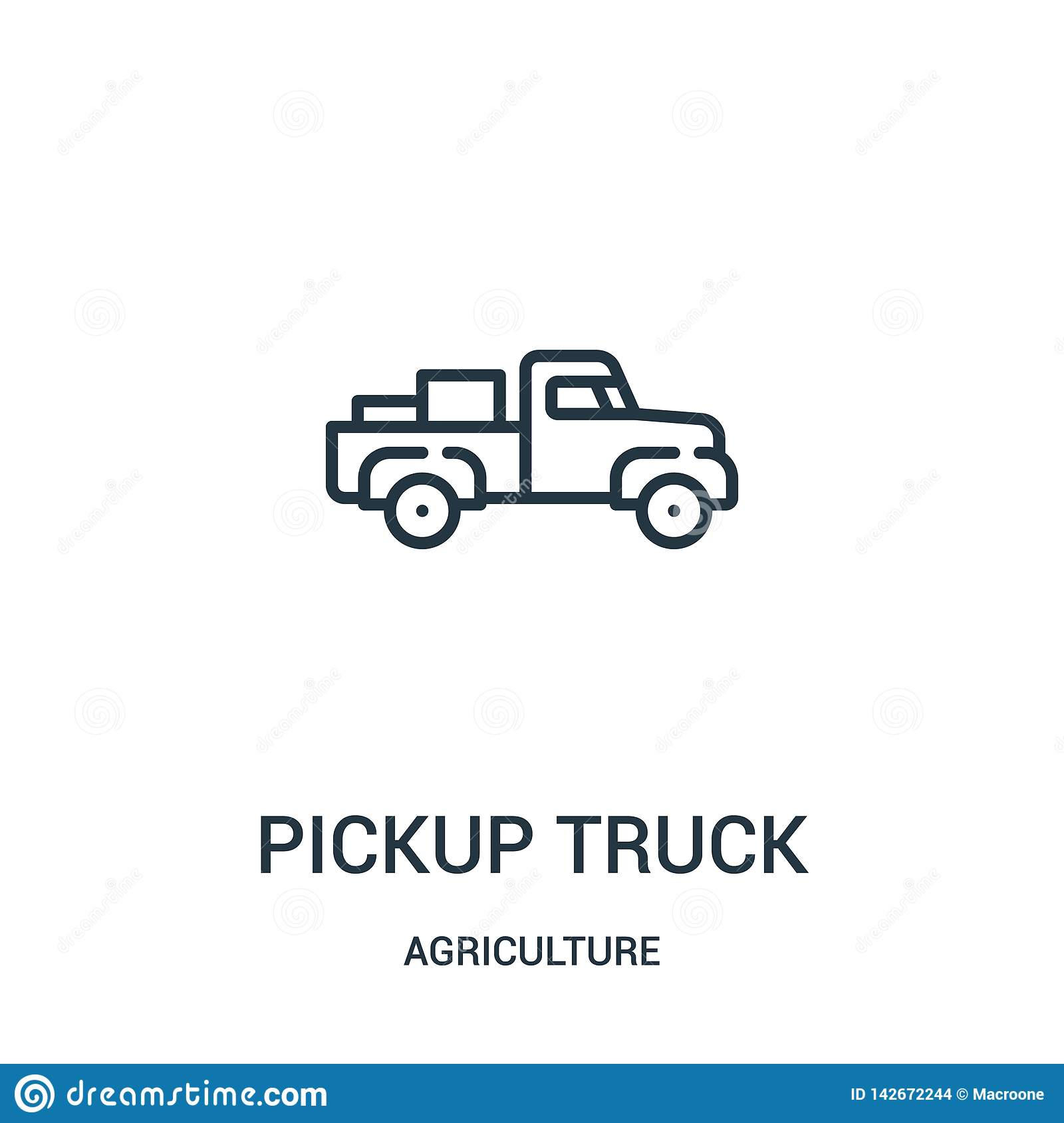 pickup truck icon vector from agriculture collection. Thin line pickup truck outline icon vector illustration. Linear symbol for