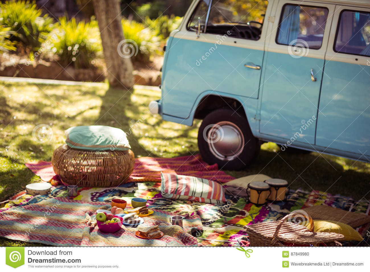 Picnic accessories scattered on blanket next to campervan in park