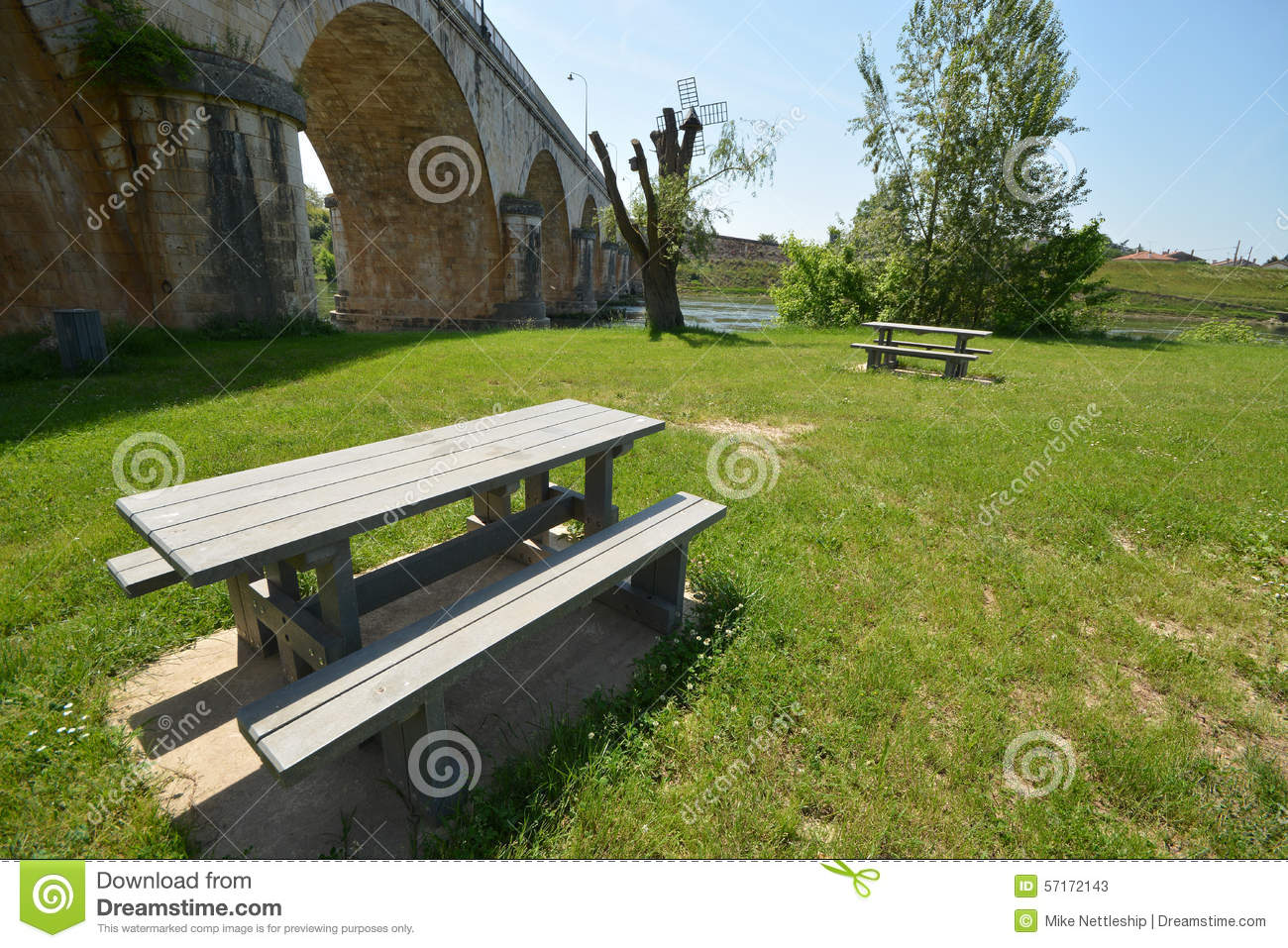 Incredible Picnic Area In France Stock Image Image Of Sunny Bench Lamtechconsult Wood Chair Design Ideas Lamtechconsultcom