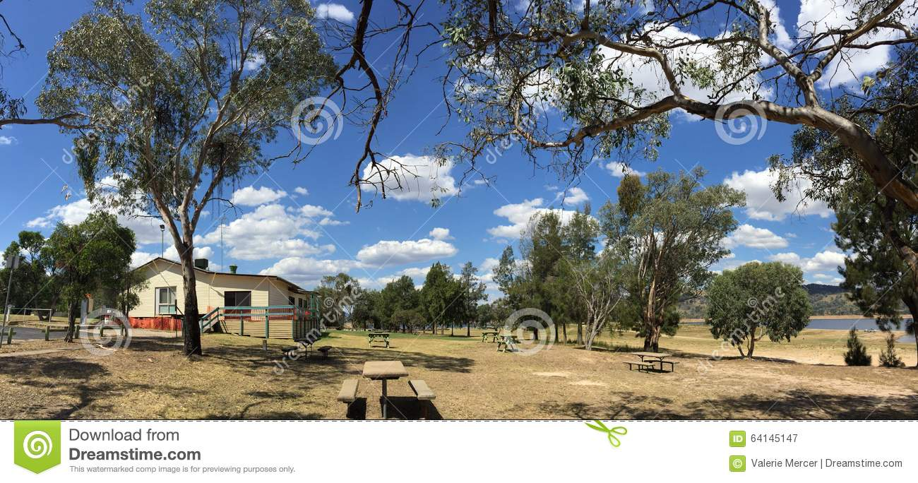 Picnic area at Wyangala state recreation park near Cowra in country New South Wales Australia
