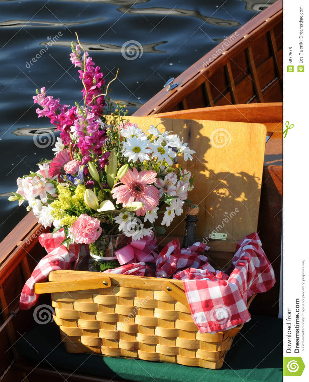 Picnic Basket With Flowers On A Wooden Boat Stock Photo Image Of Case Water 5672576
