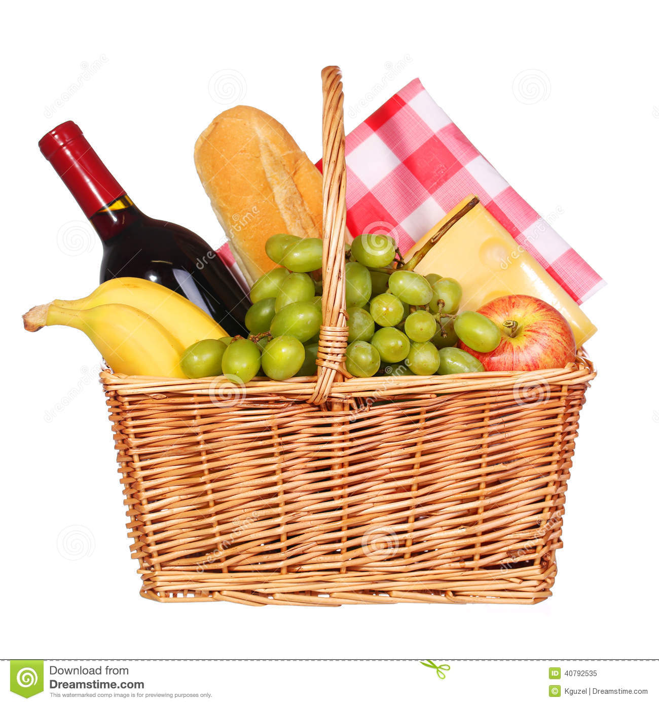 Picnic Basket With Food Isolated Stock Photo - Image: 40792535