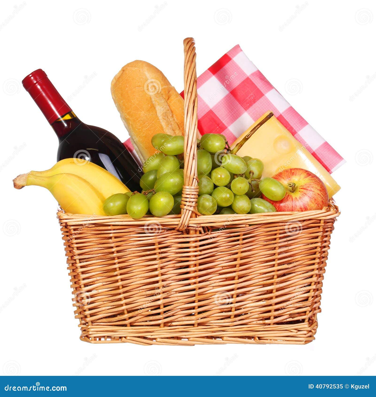 Picnic Basket Food : Picnic basket with food isolated stock photo image