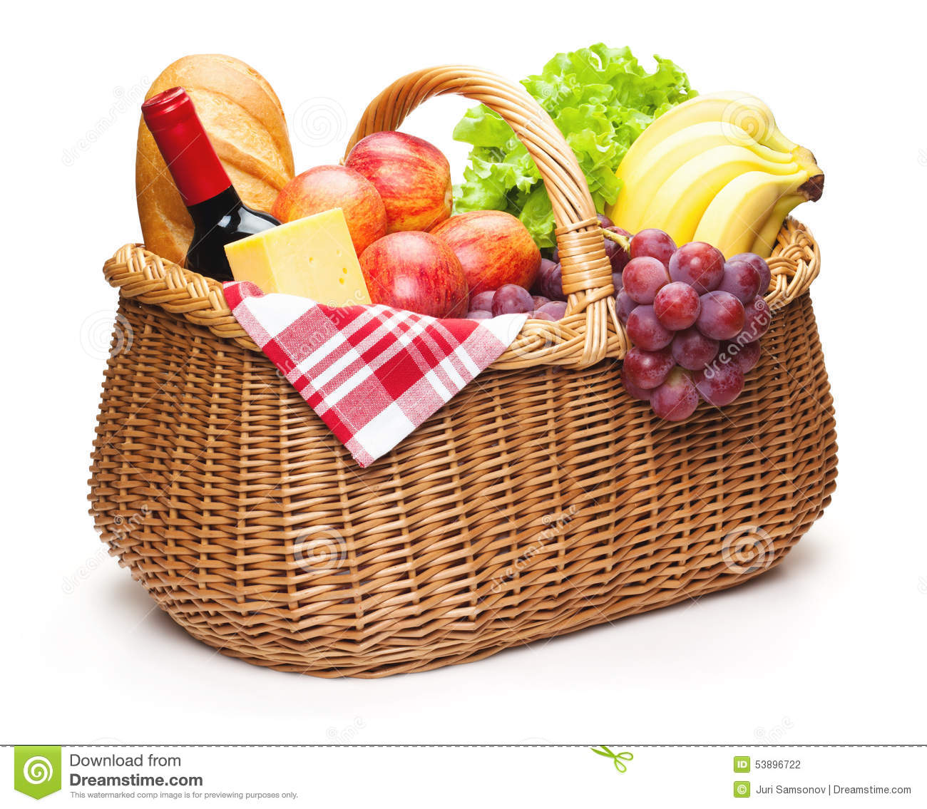 Picnic Basket With Food Stock Photo Image 53896722