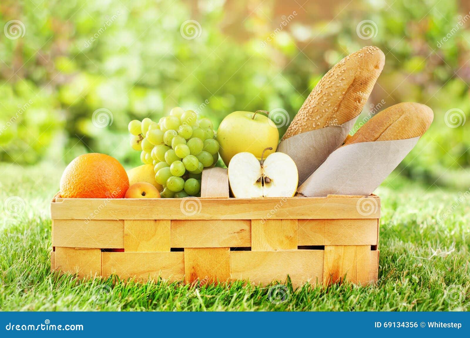 Picnic Basket Fresh Food Bread Bio Organic Fruit