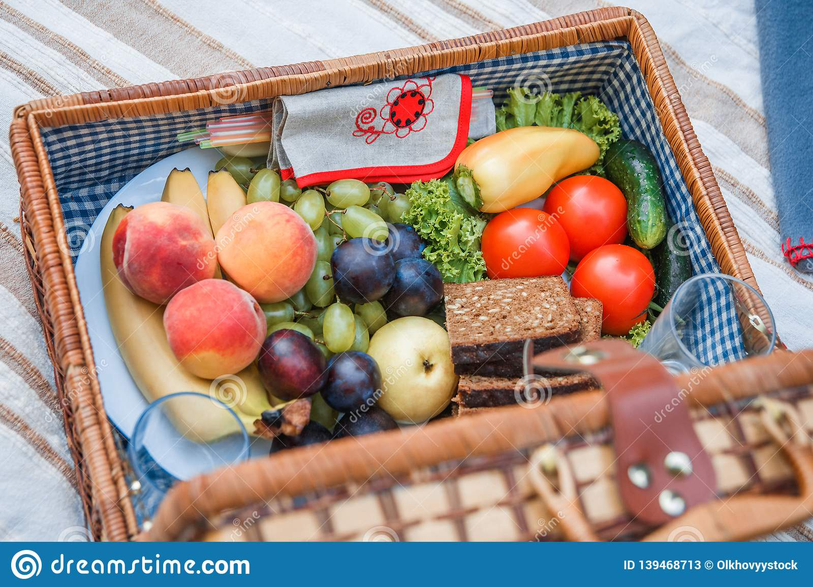 Picnic basket with fruit and bread close up