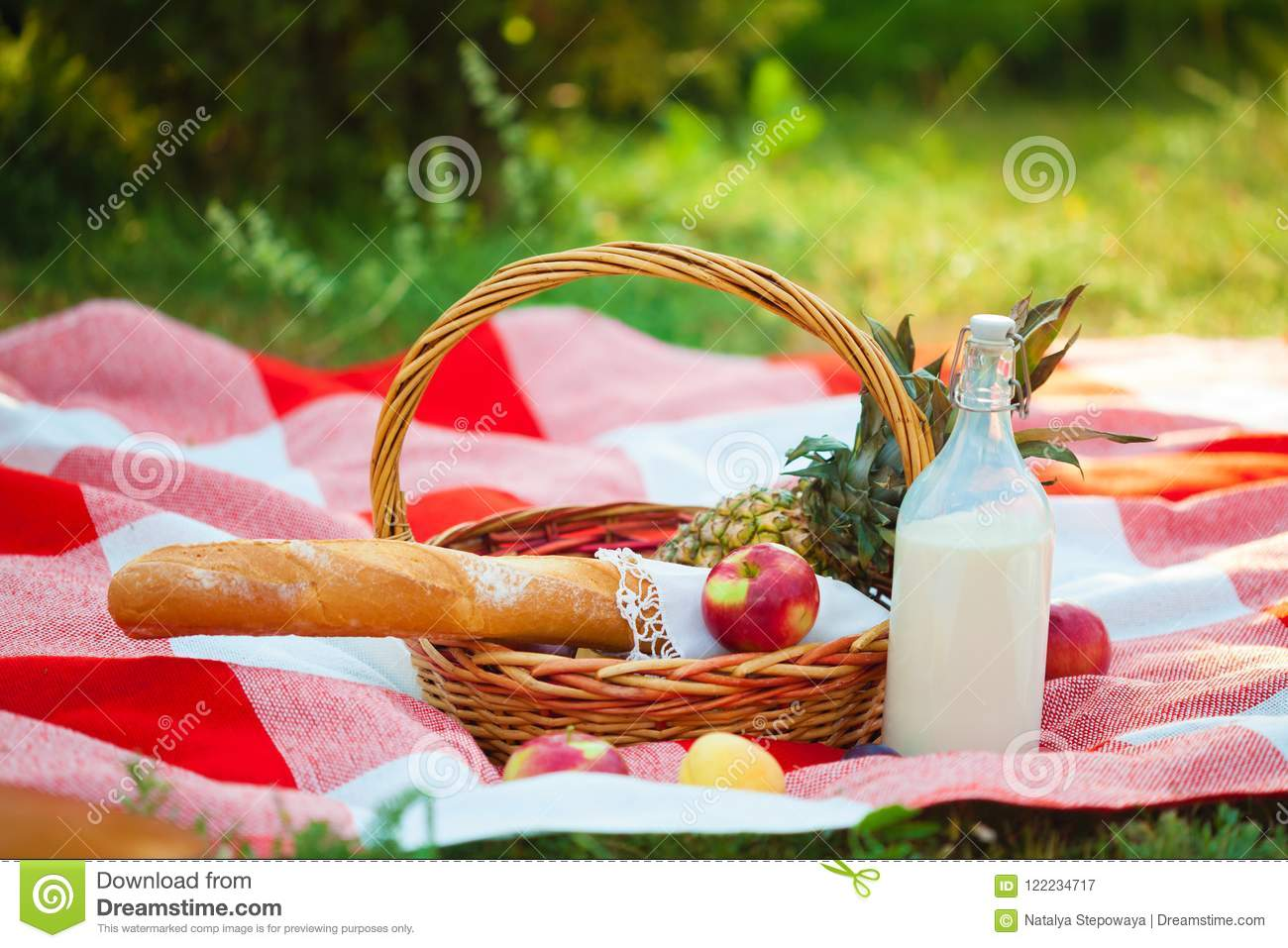 Picnic basket, fruit, milk, apples, pineappe summer, rest, plaid, grass Close up