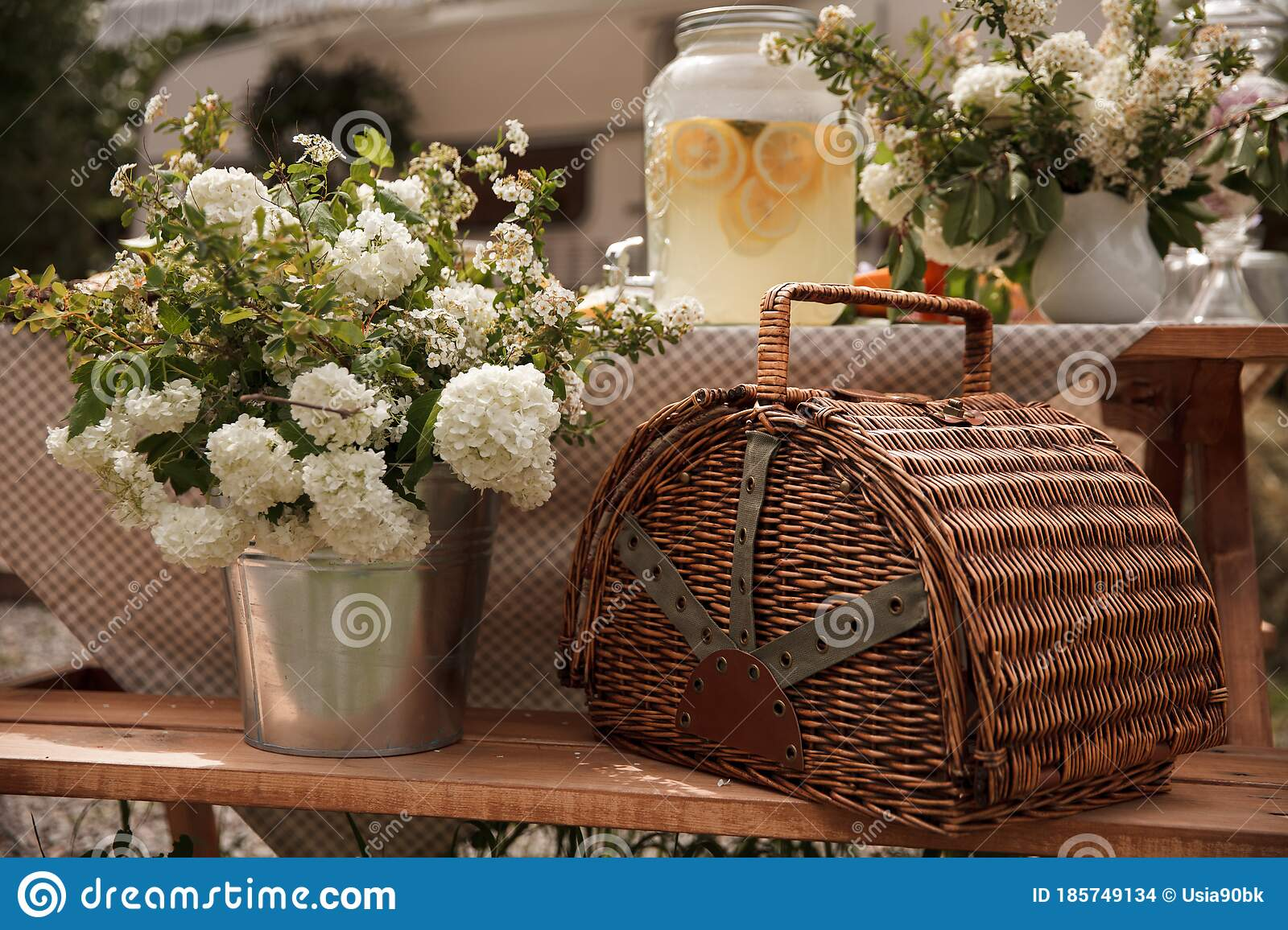 Picnic Basket With Fruits Picnic In The Nature White Flowers In A Pot Stock Photo Image Of Decoration Floral 185749134
