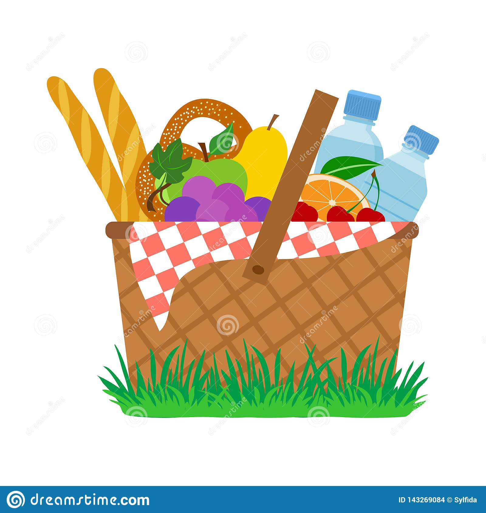 Picnic Basket On Grass Vector Stock Illustration Illustration Of Natural Outdoor 143269084