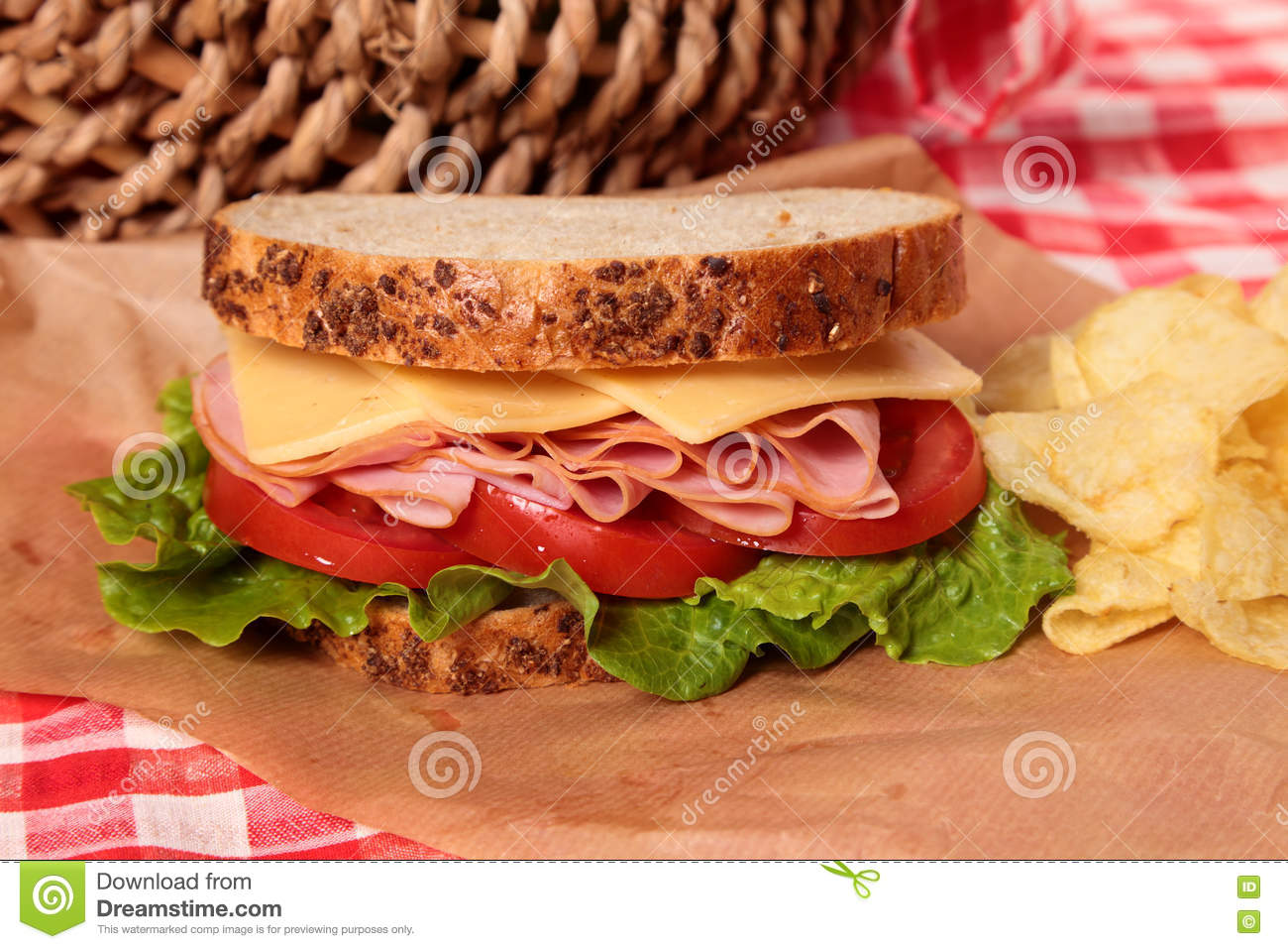 Picnic basket ham and cheese sandwich close up