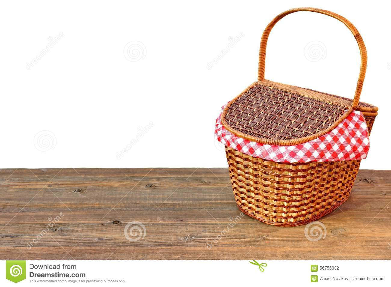 Picnic Basket On The Outdoor Wood Table Isolated Close Up