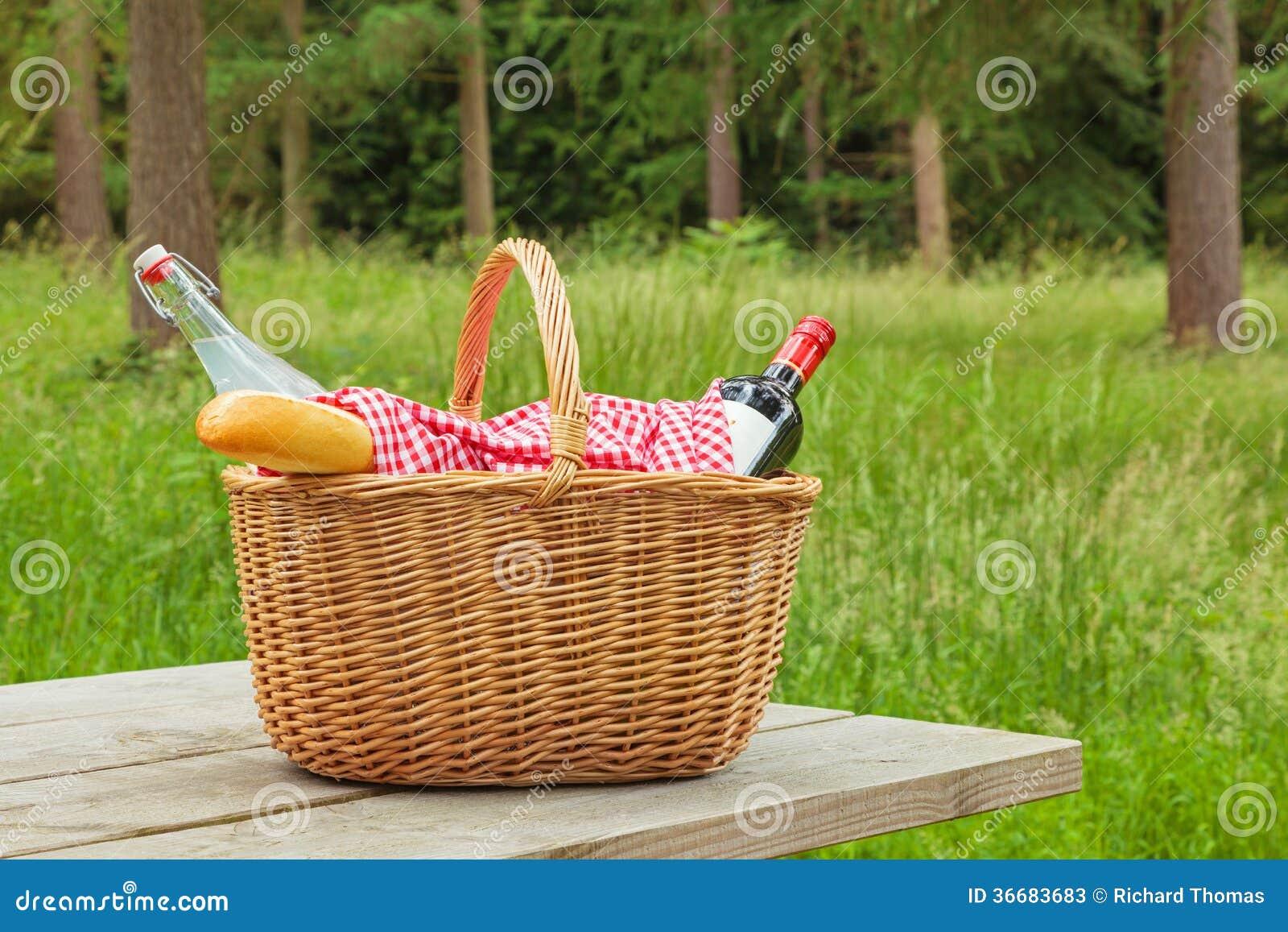 Picnic Basket Food : Picnic basket in a woodland setting stock photos image