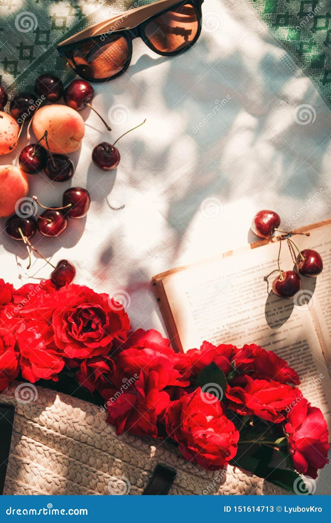 Picnic di estate nel giardino con le rose rosse del giardino in una borsa di vimini, in occhiali da sole e nelle bacche della cil