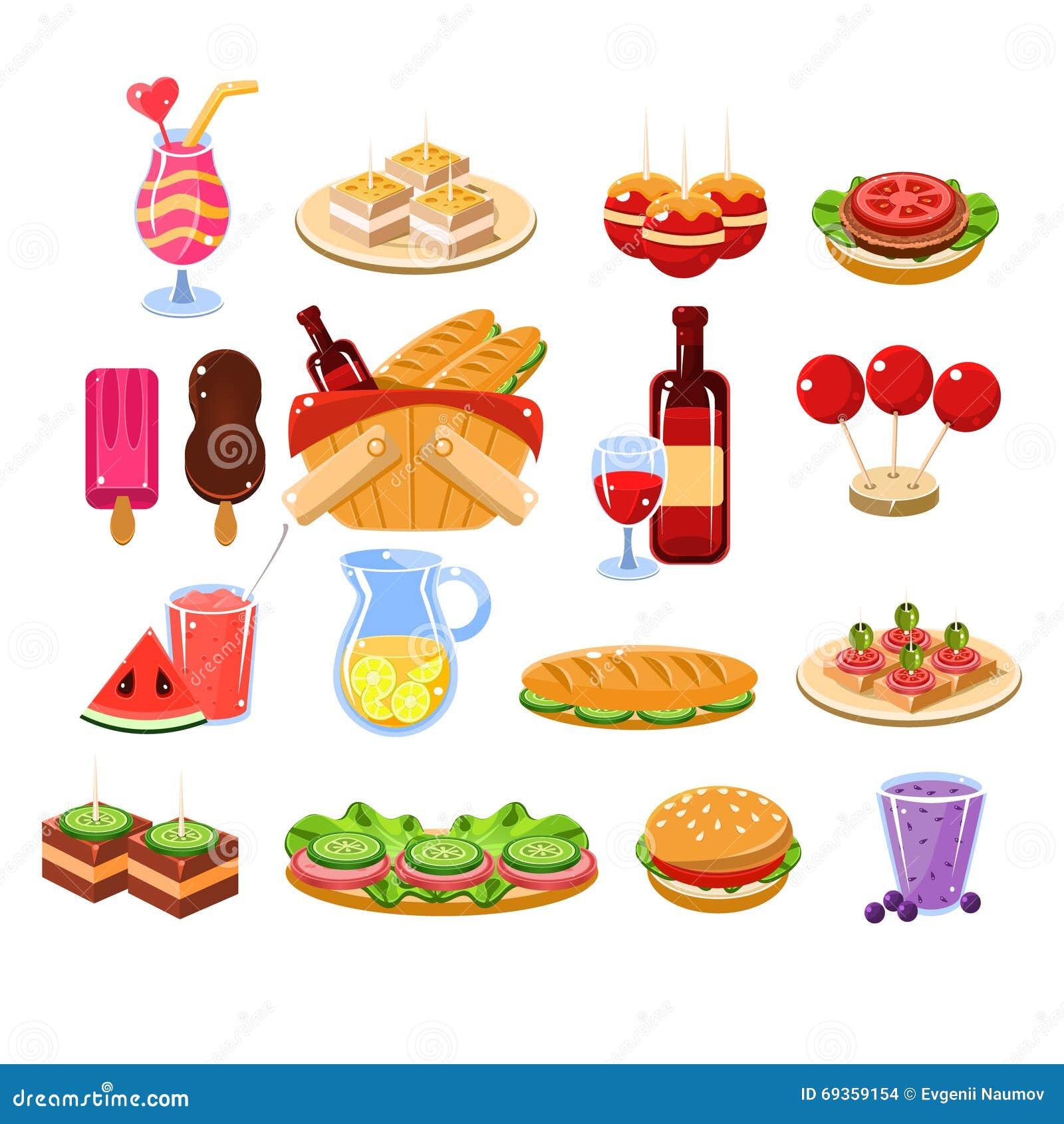 food drink picnic vector cartoon background illustration