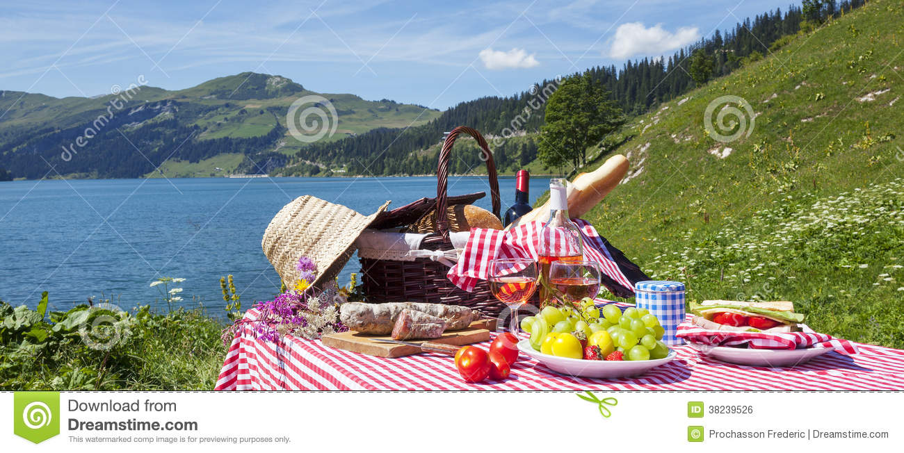 Picnic In French Alps With Lake Royalty Free Stock Image - Image ...
