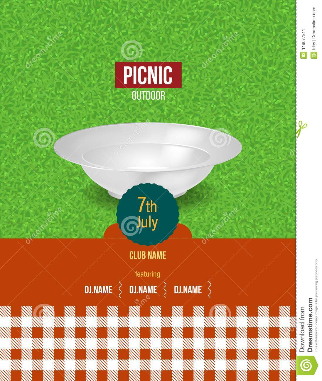 picnic on fresh air summer invitation poster template flyer