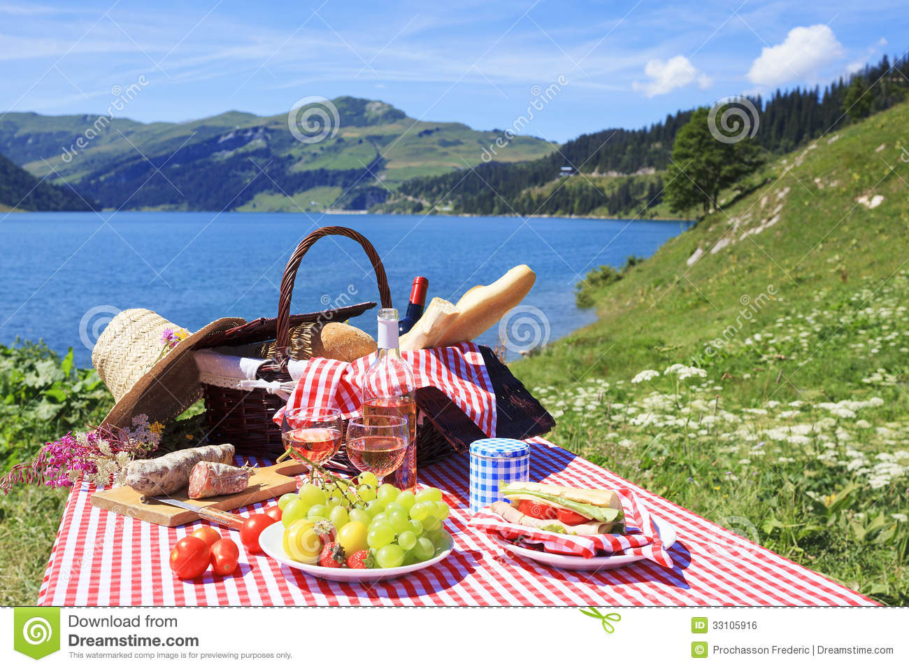 Picnic And Lake Royalty Free Stock Image - Image: 33105916