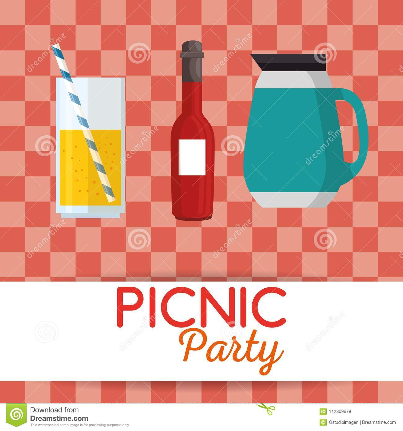picnic party invitation set icons stock vector illustration of