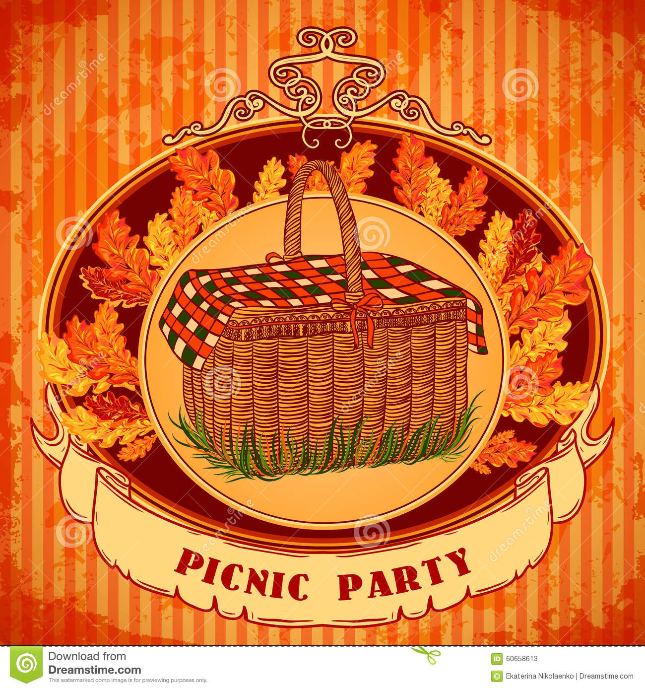 Picnic party in meadow with picnic basket and autumn leaves grass download picnic party in meadow with picnic basket and autumn leaves grass retro invitation stopboris Choice Image