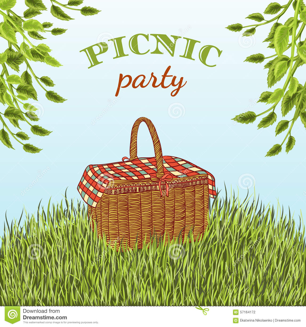 Picnic Party In Meadow With Picnic Basket And Tree