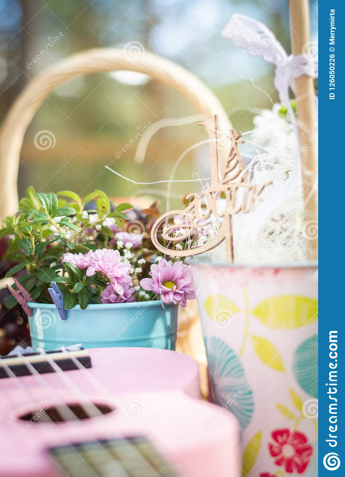 Picnic Party Table Decoration Baskets With Fruits On A Wooden Table Flowers Pink Small Guitar And Pinwheel Stock Photo Image Of Cooking Fruits 126050226