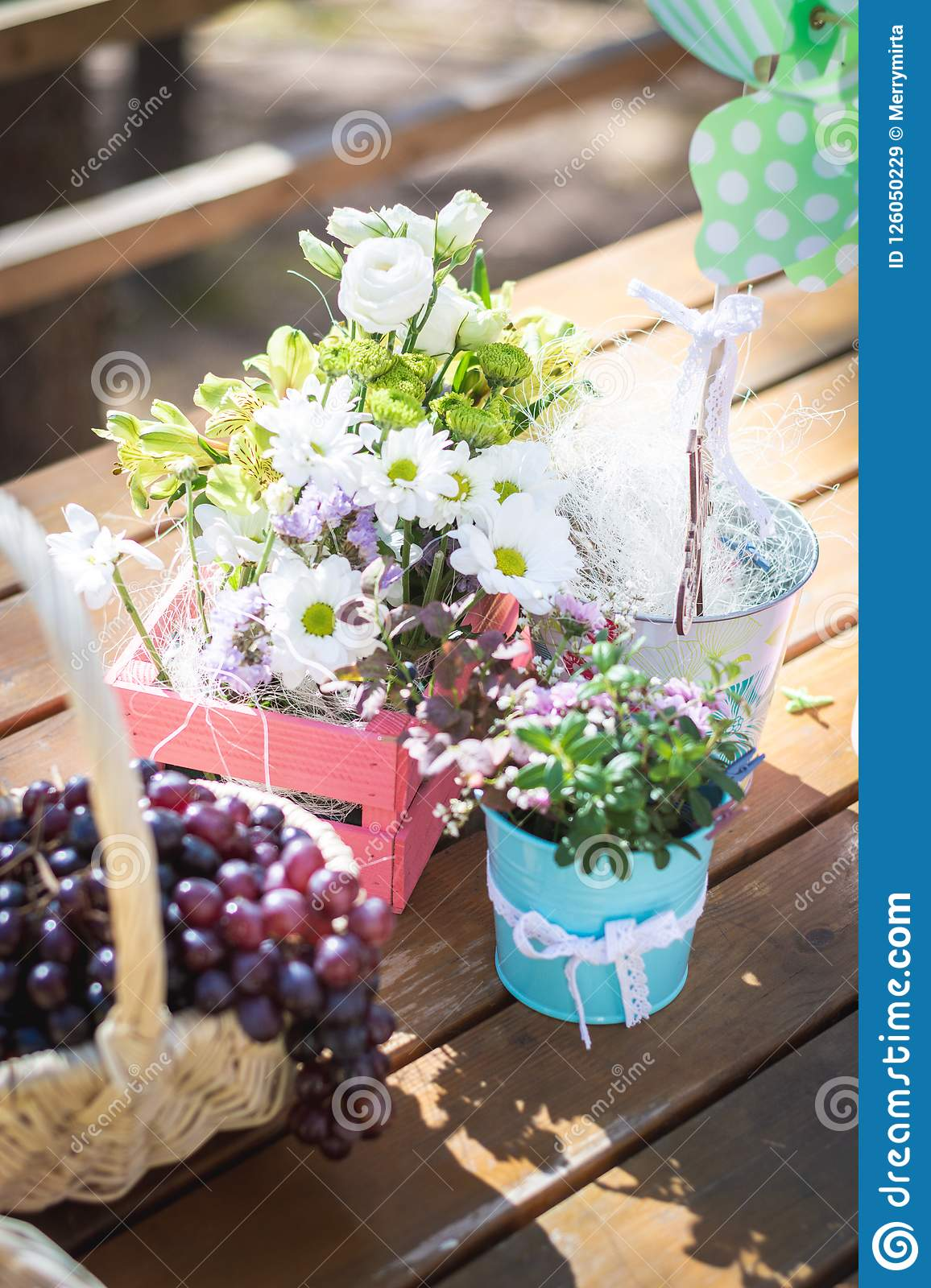 Picnic Party Table Decoration Baskets With Fruits On A Wooden Table Flowers Pink Small Guitar And Pinwheel Stock Image Image Of Juicy Fall 126050229